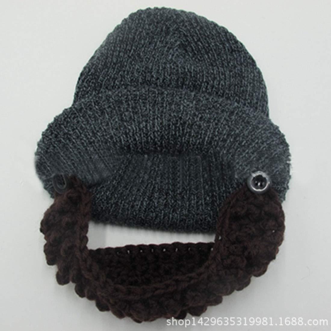 ae1a42d6ed3c Lerben Men Women Beard Hats Warm Winter Knitted Beanie Caps Ski Hat Black  at Amazon Men's Clothing store