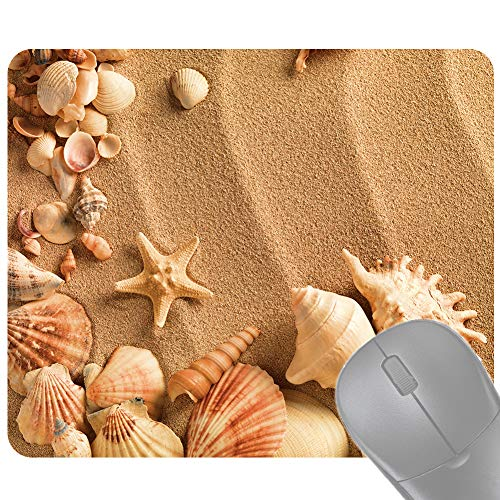 Yamalans Anti Slip Wrist Support Mouse Pad Mat,Beach Shell Starfish Pattern Rubber Table Desk Gaming Mousepad for Home Office Use 3# 24cm x 20cm x 0.3cm