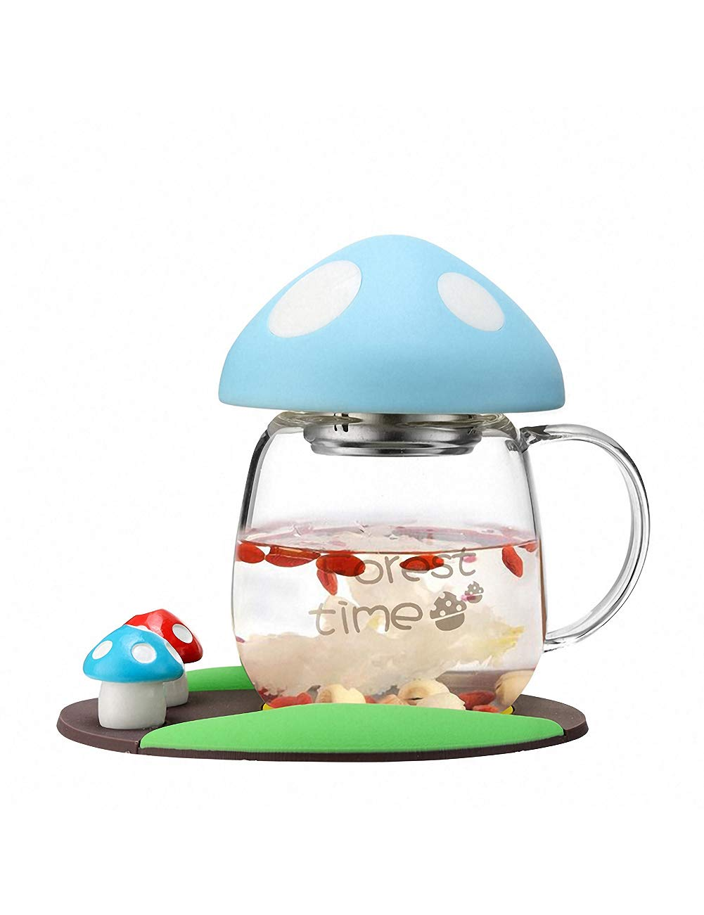 BZY1 Tea Mug Glass Cup With Strainer & Lid Portable Teacup Heat Resistant Mushroom Cup Design Cute and Practical 280ML BLUE