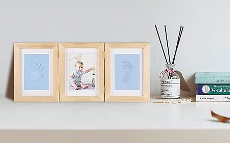 Baby Shower regalos Set memorables de decoraciones con Premium U-Kiss beb/é arcilla huella huella Marco Kit Marco de madera para ni/ños ni/ñas y ni/ños perfecta decoraci/ón para habitaci/ón pared