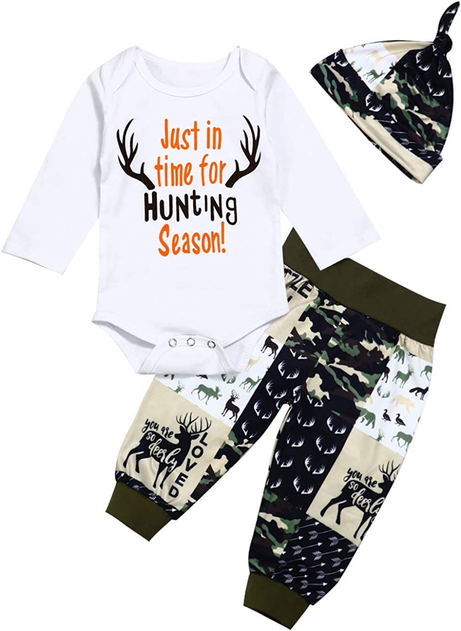 itkidboy Newborn Baby Boy Clothes New to The Crew Letter Print Romper+Long Pants+Hat 3PCS Outfits Set