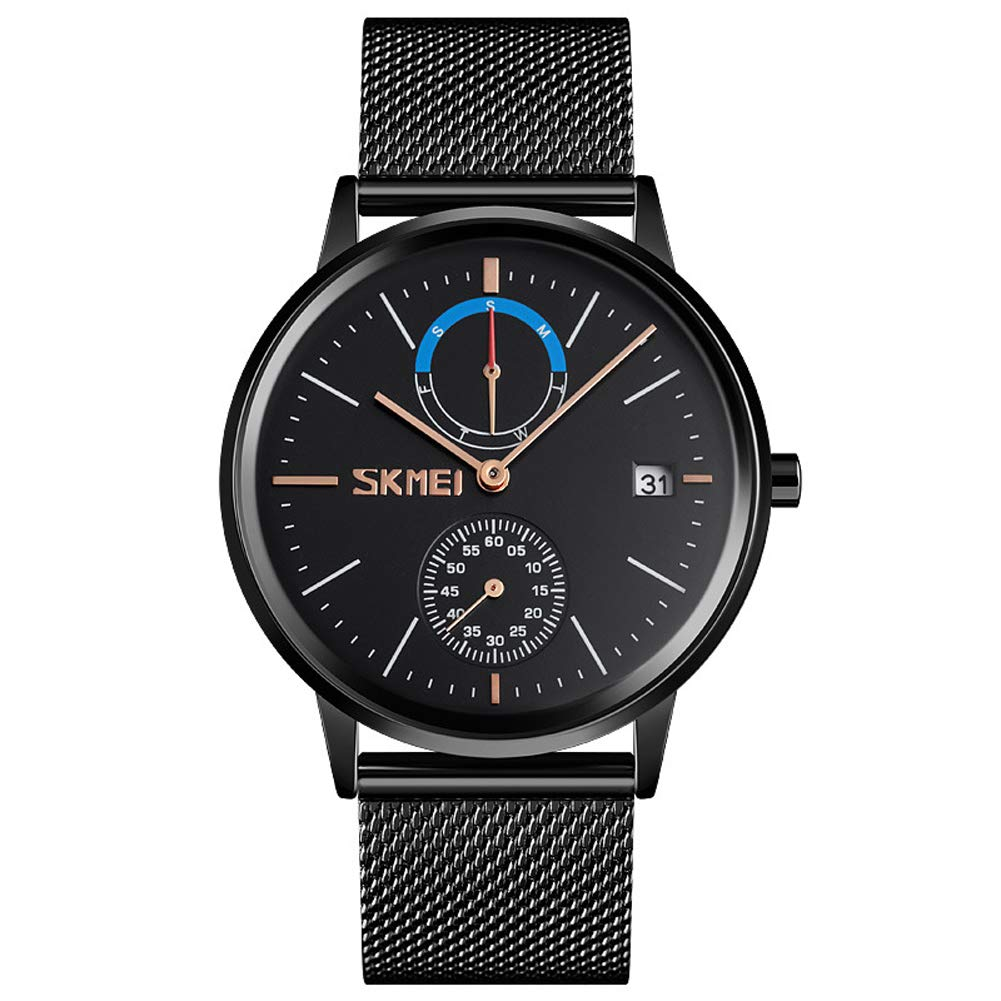 SPORS Business European and American Men's Quartz Watch, Round Mirror Watch, Student Fashion Watch-Black by SPORS