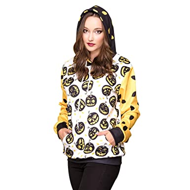086f689cbd6f XUANOU Women Halloween Pumpkins 3D Printing Long Sleeve Hoodie Sweatshirt  Pullover Top Pumpkin Devil Print Hooded Sweater at Amazon Women s Clothing  store