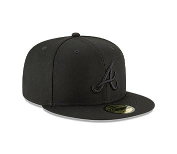 huge discount 8fbed bb12c New Era 59Fifty MLB Basic Atlanta Braves Fitted Black Baseball Headwear Cap  (6 7