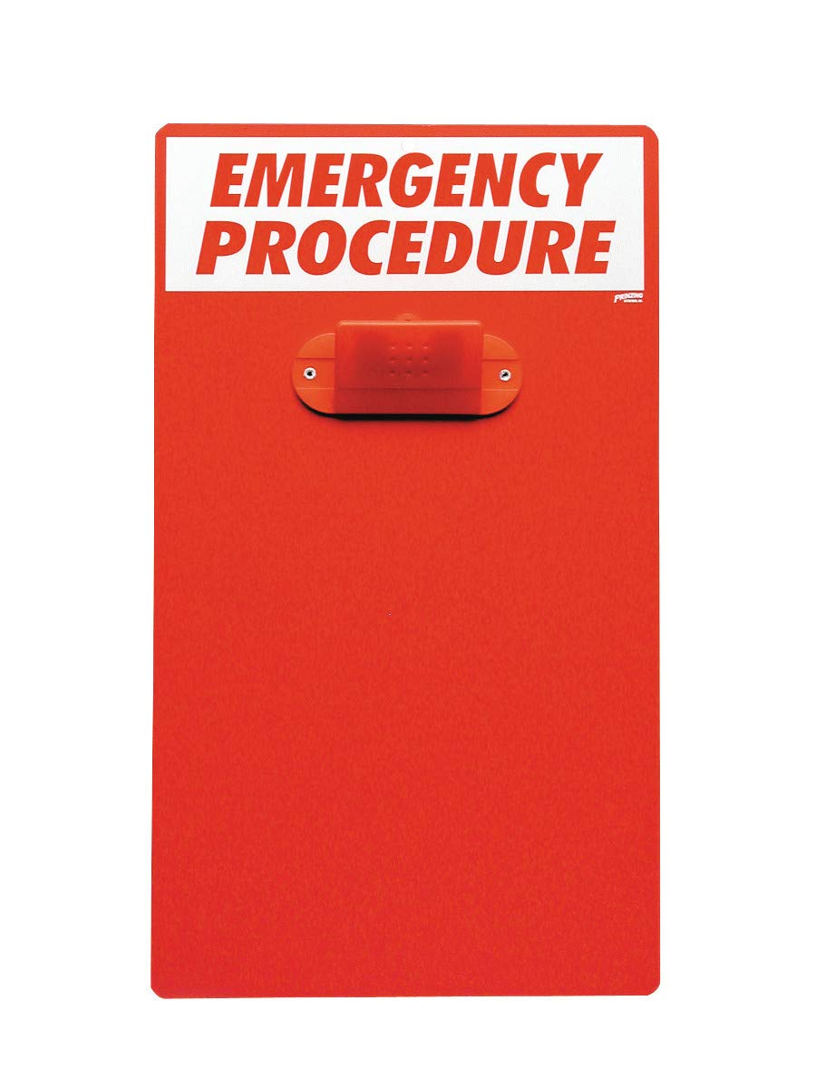 Brady 17'' X 19 1/2'' Red Plastic Prinzing Emergency Procedure Clipboard''PRINZING EMERGENCY PROCEDURE CLP BRD''