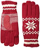 Isotoner Women's Microluxe Swiss Snowflake Knit Glove with Stripe Cuff and Suede Palm Patch, Really Red, One Size