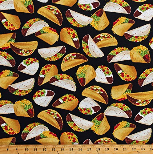 Cotton Tacos Mexican Food on Black Cotton Fabric Print by The Yard (D783.53)
