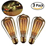 LEORX Edison Bulbs 40W E27 Dimmable Vintage Light Bulbs ST64 220-240V 160lm 2500-2700K Warm White - 3 Pack