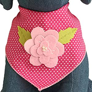 Tail Trends Easter Dog Bandanas with Pink Rose Design Fits Medium to Large Sized Dogs - 100% Cotton (L)