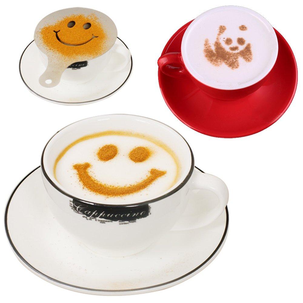32 Piezas Plantillas Decoración de Café, SENHAI 2 Paquetes de 32 Piezas de Espuma Latte Arte Plantillas Barista para Decorar la Torta de Harina de Avena ...