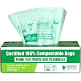 Primode 100% Compostable Trash Bags, 2.6 Gallon Food Scrap Yard Waste Bags, 100 Count, Extra Thick 0.71 Mil. ASTMD6400…