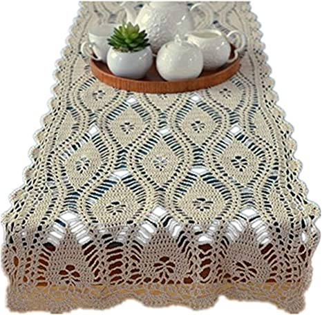 Vintage Hand Crochet Cotton Lace Table Runner Wedding Party Floral Pattern Beige