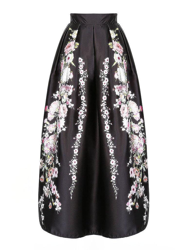 e6f27f76bea8b Black Floral Print Maxi Skirt - raveitsafe