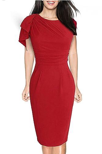Donsane Women's Retro Celebrity Elegant Ruched Wear to Work Party Prom Bodycon Dress