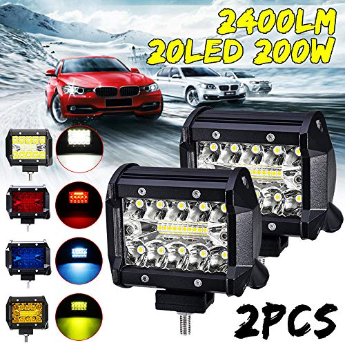 Flush Mount LED Pods,IP67 Waterproof LED Flood Lights, 2PC 400W Triple LED Work Light Bar Pods Flush Mount Combo Driving Lamp 12V-24V (Black, 20pcs Intense LED Chips)