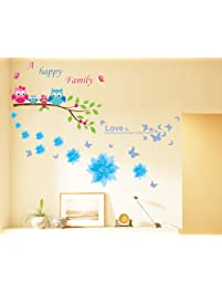Dagou Owl and Flowers Happy Family Wall Stickers & Murals Wall Decals  Wallpaper Wall Decorate and