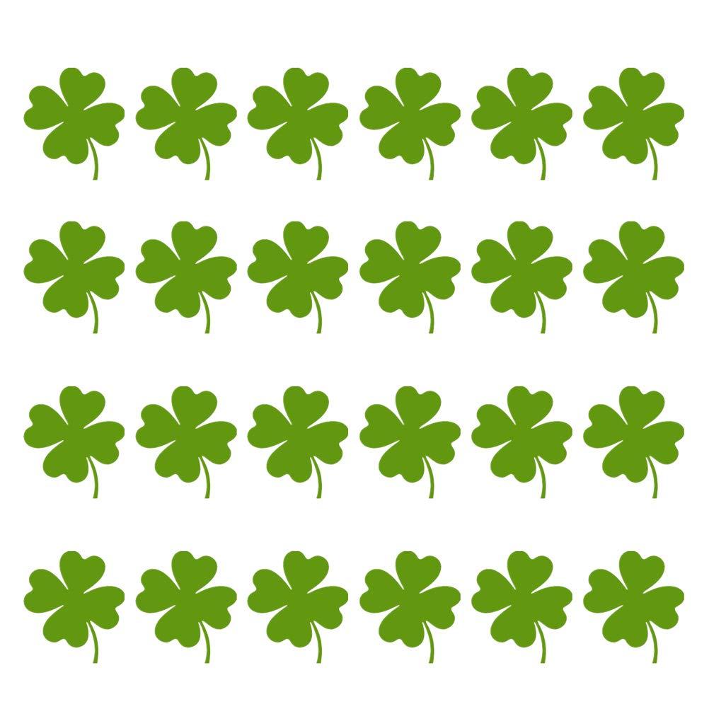 Amosfun 24 unids Decoraciones del Dí a de San Patricio Tré bol Irlandé s Pegatinas Glitter Pegatinas Tré bol Verde