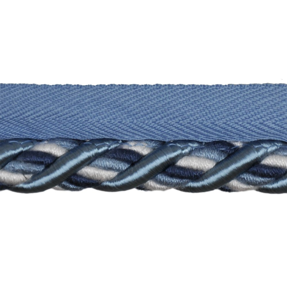 1/2'' Cord with Lip on 25-Yard Roll, Blue and White by 1/2'' Cord with Lip