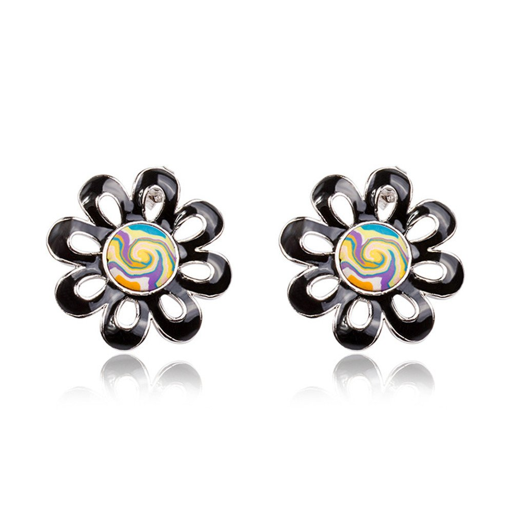 Black Flower Stud Earring Punk Jewelry Bohemian Style Gift For Women Girl