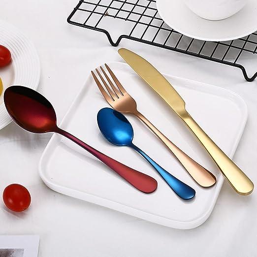 AOLVO Cuberteria Acero Inoxidable, Cuberterias Completas Modernas con Acabado Pulido Brillante, para Todo Tipo de Cocinas y Mesas - Azul: Amazon.es: Hogar