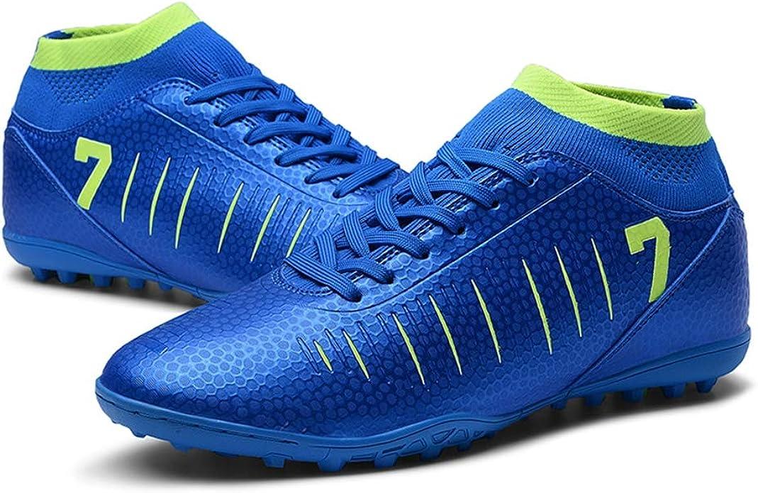 KANGLE Tobilleras Altas Botines de fútbol para Hombres Botas de fútbol Botines y Picos Cortos Zapatos de fútbol para Hombre Zapatillas de Deporte Césped Interior Futsal,Azul,39: Amazon.es: Zapatos y complementos