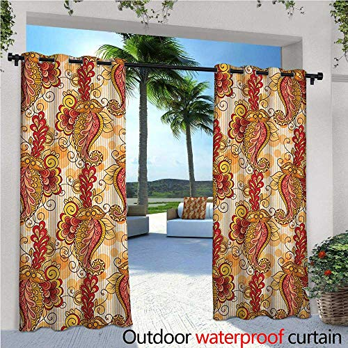 familytaste Asian Exterior/Outside Curtains Traditional Asian Paisley in Colors Floral Ornamental Religious Cultural Art for Patio Light Block Heat Out Water Proof Drape W72 x L108 Orange Yellow Red