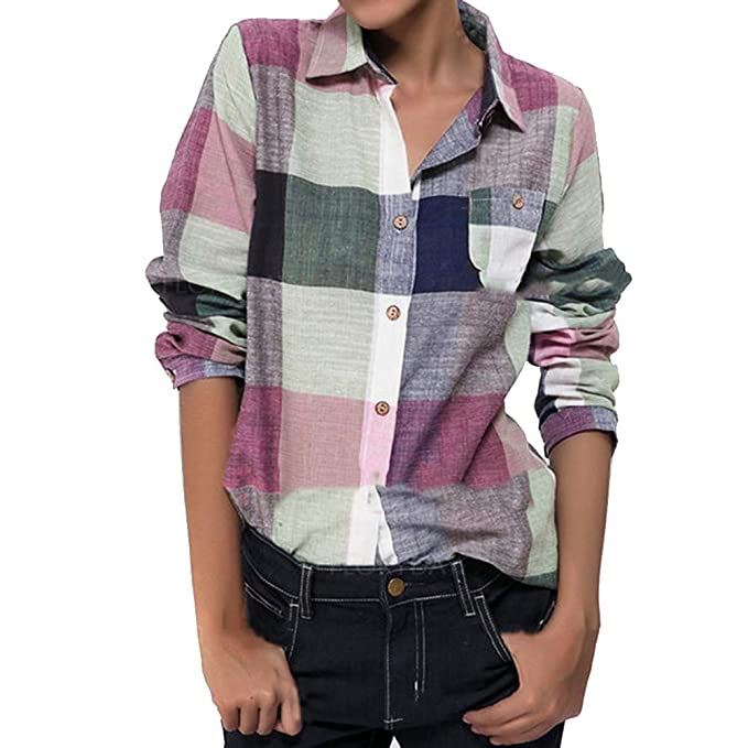 Chaquetas Mujer Mujer Color Casual del Partido Botón de Manga Larga Plaid Suelto Camisa Blusa Lino Superior: Amazon.es: Ropa y accesorios