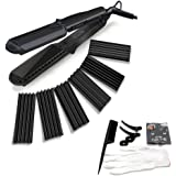 4 in 1 Curling Iron, Accellorize Hair Curler Crimper Straightener with Flat Iron Small Medium Large Waver 4 kinds of Interchangeable Ceramic Plates and Heat Protective Glove