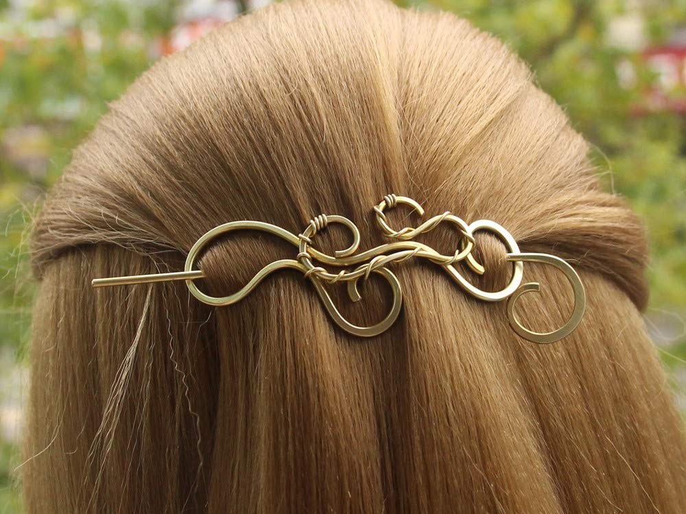 Hair Stick Thick Hair Barrette Metal Copper or Bronze Jewelry Handmade Hammered Long Hair Accessories Gift Women Hair Slide Hair Clip
