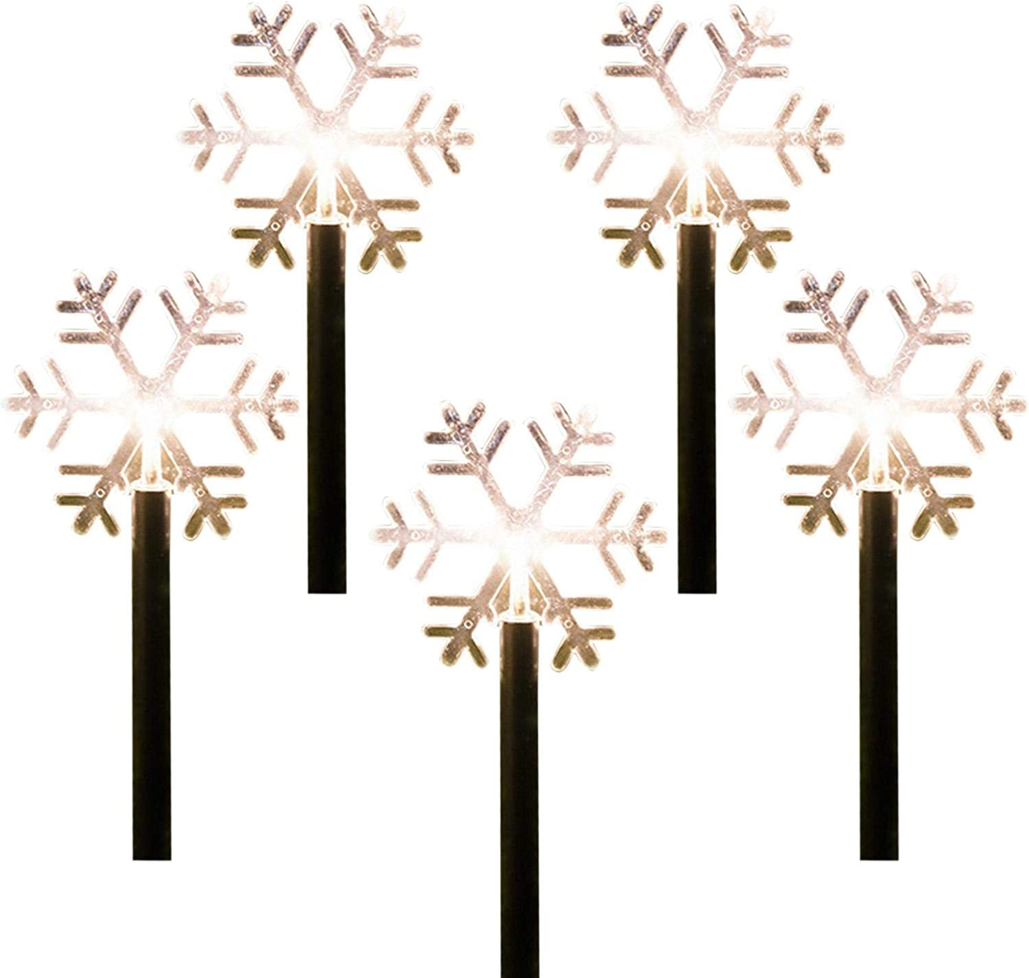 FEBUD Christmas Stake Light Outdoor Garden Light Snowflake/Christmas Tree/Star Pathway Light Christmas Decorations for Patio Walkway Yard Lawn (Batteries Not Included)