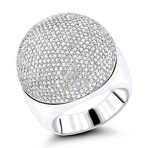 Luxurman Ladies 14K Pave Set Natural 2.2 Ctw Diamond Dome Ring (White Gold Size 6.5) (Dome Ring Set Pave)