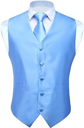 HISDERN Hombres clasico color solido Jacquard Chaleco y corbata ...
