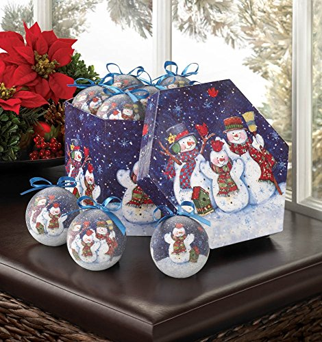 WINTERY NIGHT SNOWMAN ORNAMENT SET - 10016079