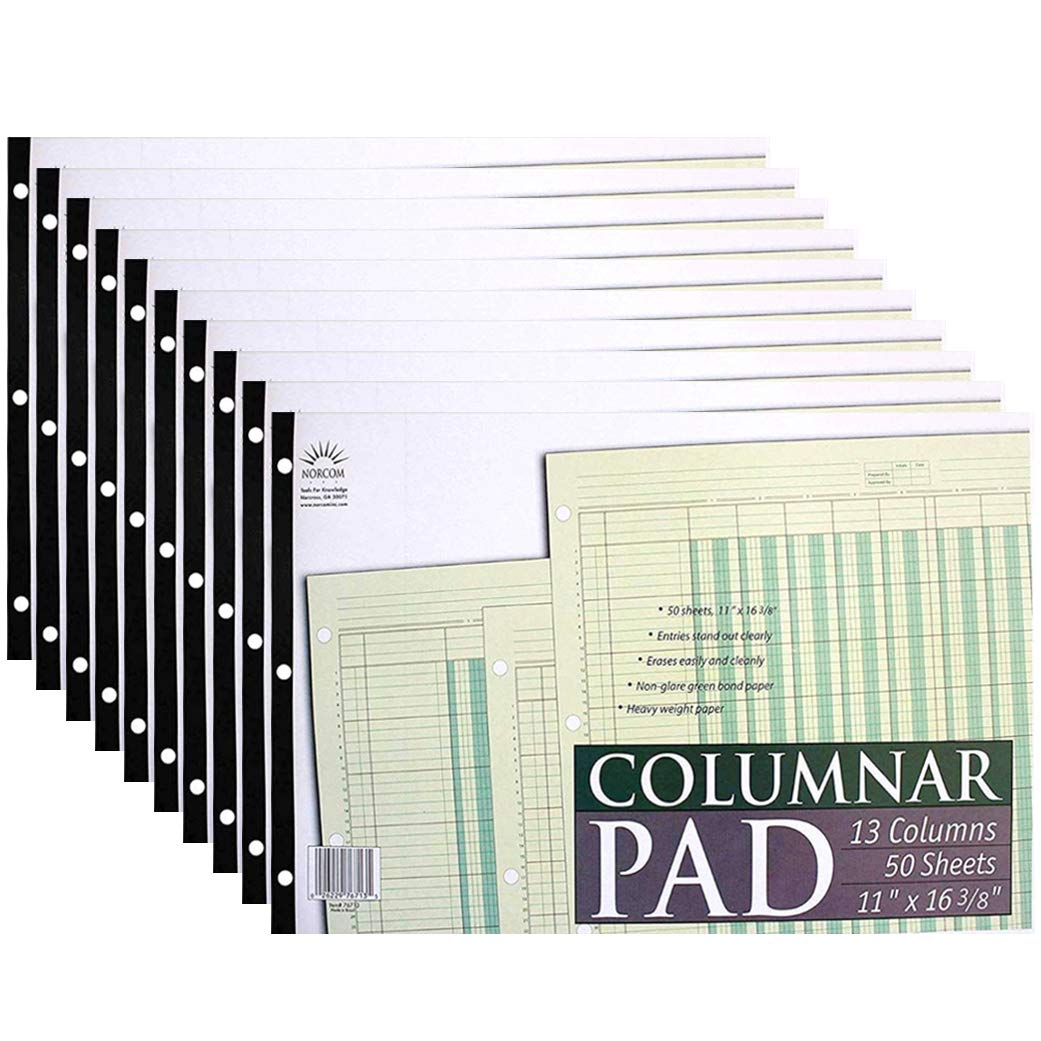 Norcom Columnar Pad 13 Columns (10-Pack), 11 x 16.375 Inches, 50-Green Sheets Per Pad by Norcom