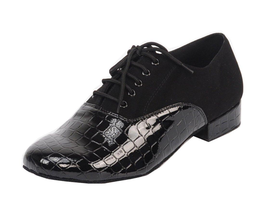 TDA Men's Lace-up Round Toe Black Suede Salsa Tango Ballroom Latin Modern Dance Shoes 14 M US