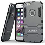iPhone 6 Case, Pasonomi® [Heavy Duty] [Shock-Absorption] [Kickstand Feature] Hybrid Dual Layer Armor Defender Full Body Protective Case Cover for iPhone 6 4.7Inch (Grey)
