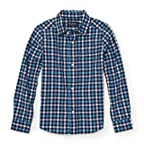 The Children's Place Big Boys' Blue Popling Check Top, Vibe Blue 88200, M (7/8)