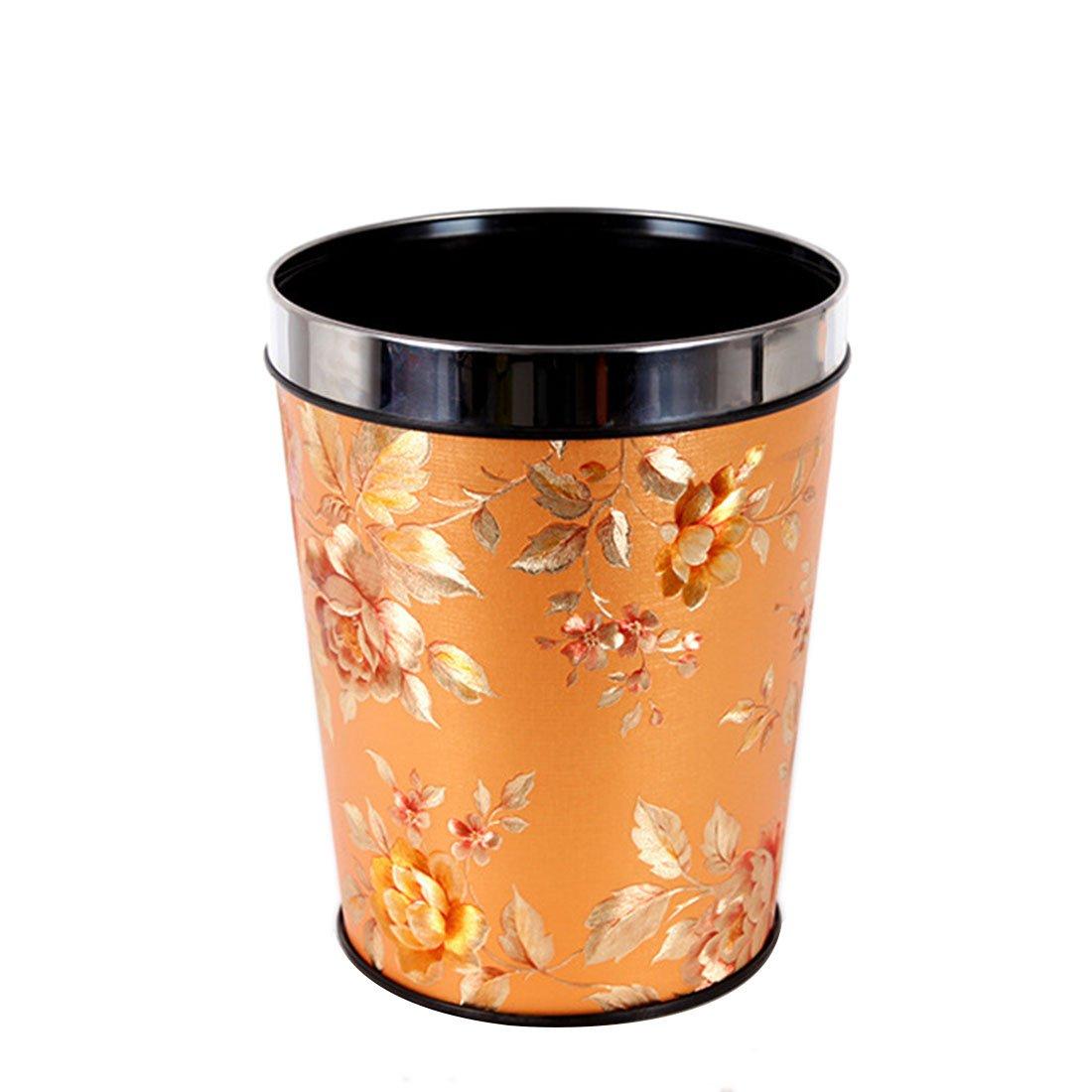BBDI Trash Cans, PP Dustbin Garbage Bin Garbage Can Wastebasket without Lid, 12L - Golden Flowers Pattern