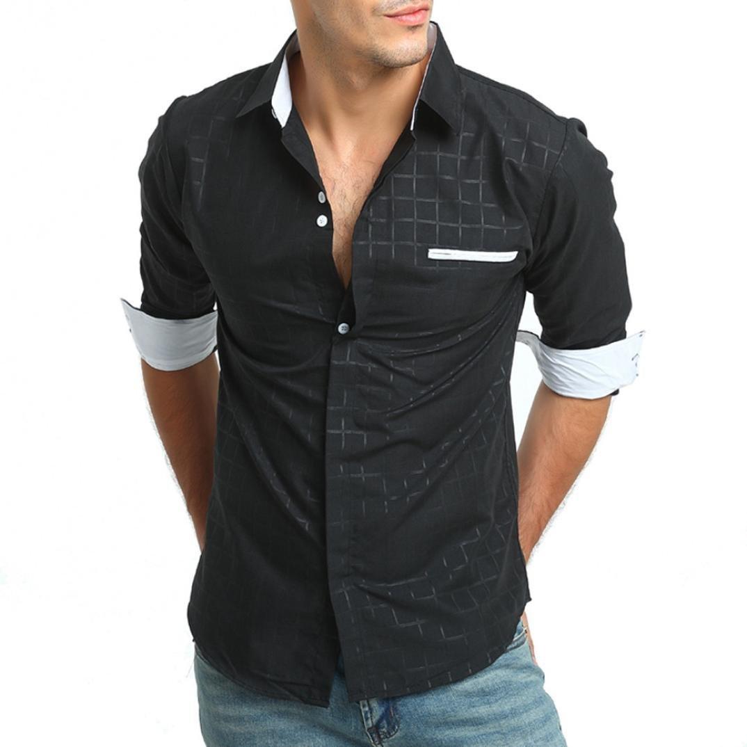 Resplend Camisa de Vestir de Manga Larga con Cuello en V Formal de Corte a Cuadros Casual de algodón de los Hombres: Amazon.es: Ropa y accesorios