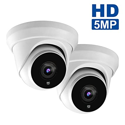 5MP Dome IP PoE Camera,(Hikvision Compatible)& ONVIF Supports H 265/H 264  HD Security Camera,2592x1944P Super HD IP66 Weatherproof Camera,(2 Pack) IR