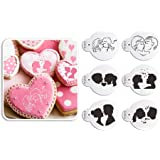 6pcs/set Love Couple Cookies Stencil Wedding Cupcake Plastic Stencils Template Baking Becorating Tool by Art Kitchenware ST-872
