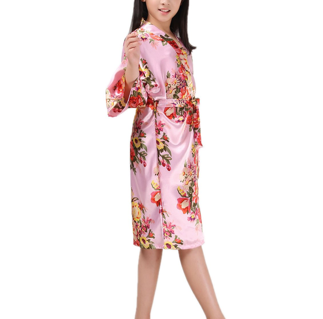 f8f2c4529b3 Mobarta Girls  Floral Satin Kimono Robe Flower Girl Bathrobe Getting Ready  Robe for Wedding Spa Party Birthday Gift