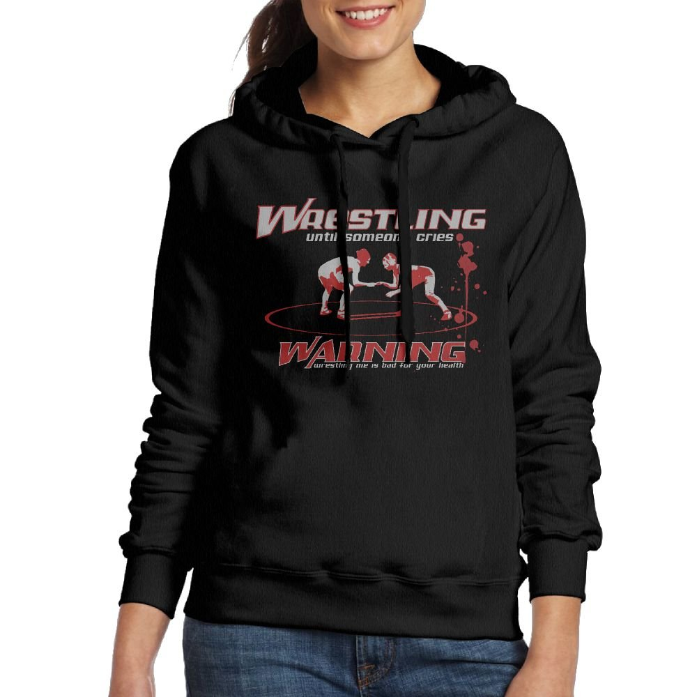 WXF Womens Wrestling Warning Casual Style Travel Black Hoodies XXL
