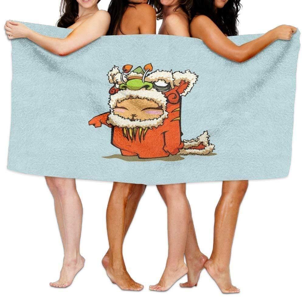 JHDHVRFRr Women's Cottton Cool Lion Dragon Dance New Year Bath Shower Wrap Towels