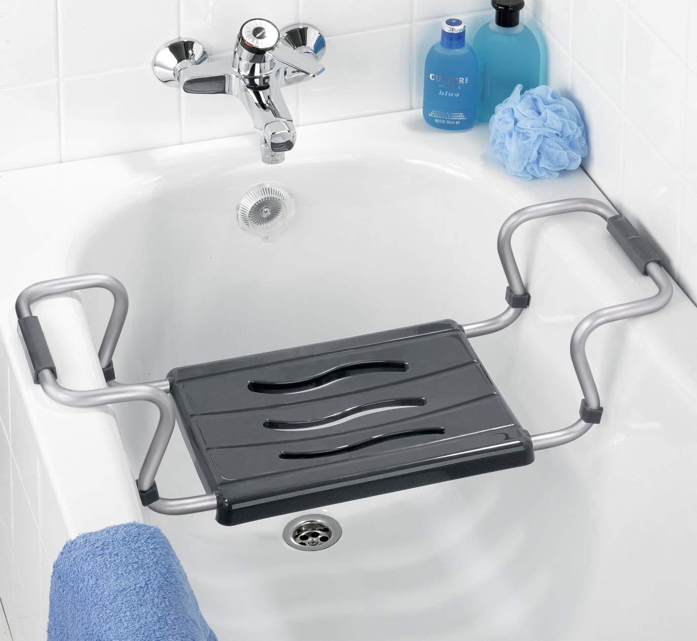 Wenko 73392500 Badewannensitz Secura ausziehbar 55-65 x 18 x 26 cm Aluminium silber 150 kg Tragkraft