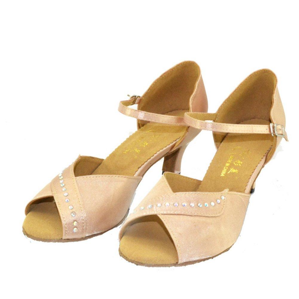 WYMNAME Damenschuhe Latin Tanzschuhe,Mittleren Heels Leise Unten Soziale Tanzschuhe Internationalen Rosa Standard Gesellschaftstanz Schuhe Rosa Internationalen 9d6ebb