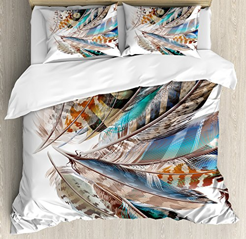 Ambesonne Feathers Duvet Cover Set, Vaned Types and Natal Contour Flight Bird Feathers and Animal Skin Element Print, Decorative 3 Piece Bedding Set with 2 Pillow Shams, Kinge Size, Teal Brown ()