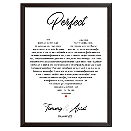 Personalised Song Lyrics Wall Art Print - ED SHEERAN - PERFECT - The  perfect gift idea for wedding, first dance, love song, anniversary,  engagement,