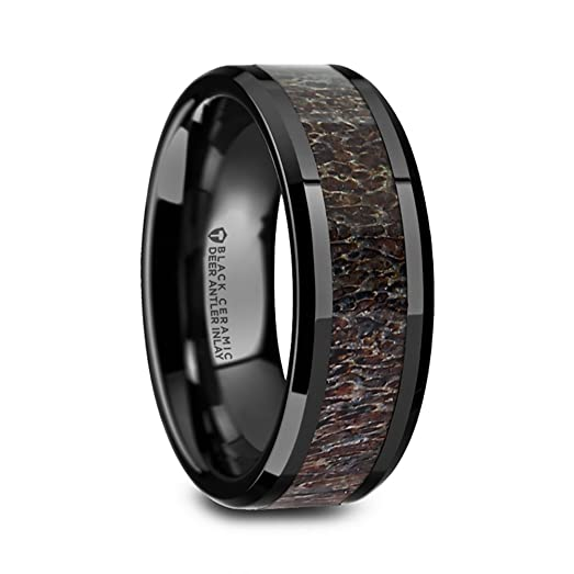 Tine Black Ceramic Wedding Ring With Dark Brown Antler Inlay And