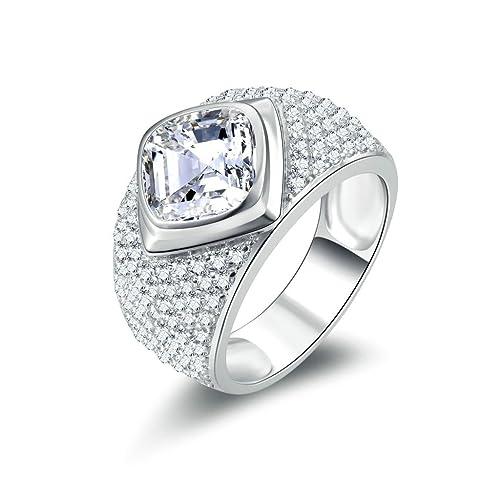 Daesar Joyería Anillos de Compromiso de Plata S925 Mujer, Talla Cojín Alianzas Boda Originales Diamantes